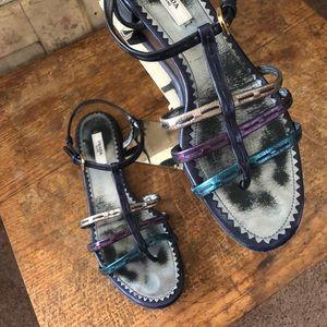 Prada Multicolor Metallic Sandals